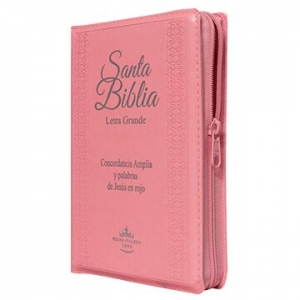 Biblia RVR1960 Mediana Letra Gde. Imit. Piel Rosa Cierre e Índice PJR