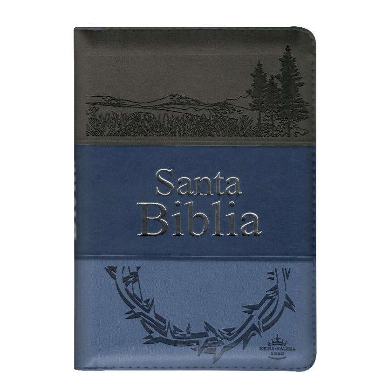 Biblia RVR1960 Med. Imit. Piel Azul Letra Gde. Cierre Índice PJR