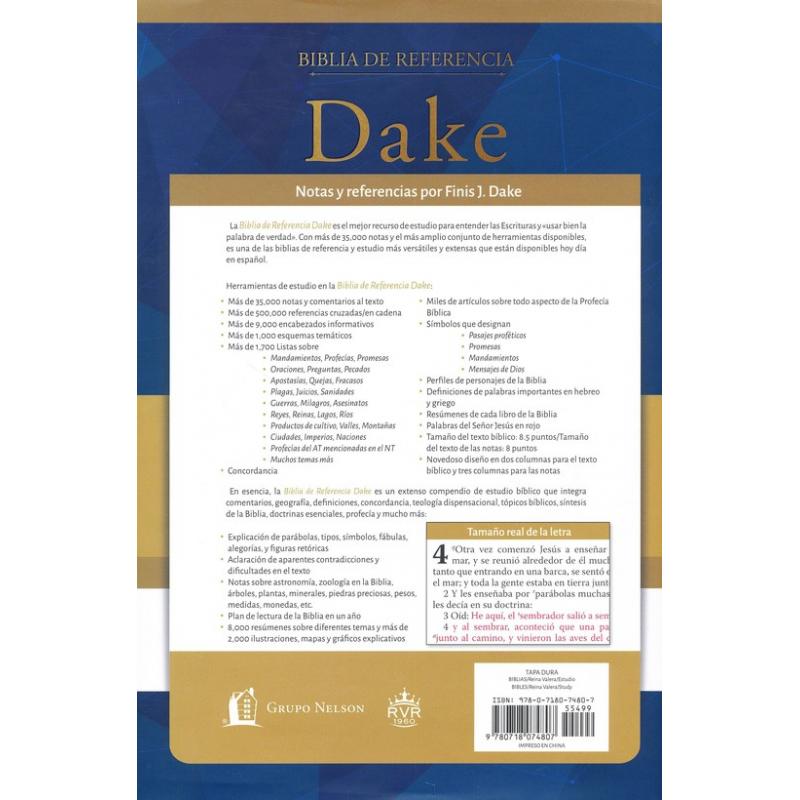 Biblia de Referencia Dake RVR 1960, Enc. Dura, Negro