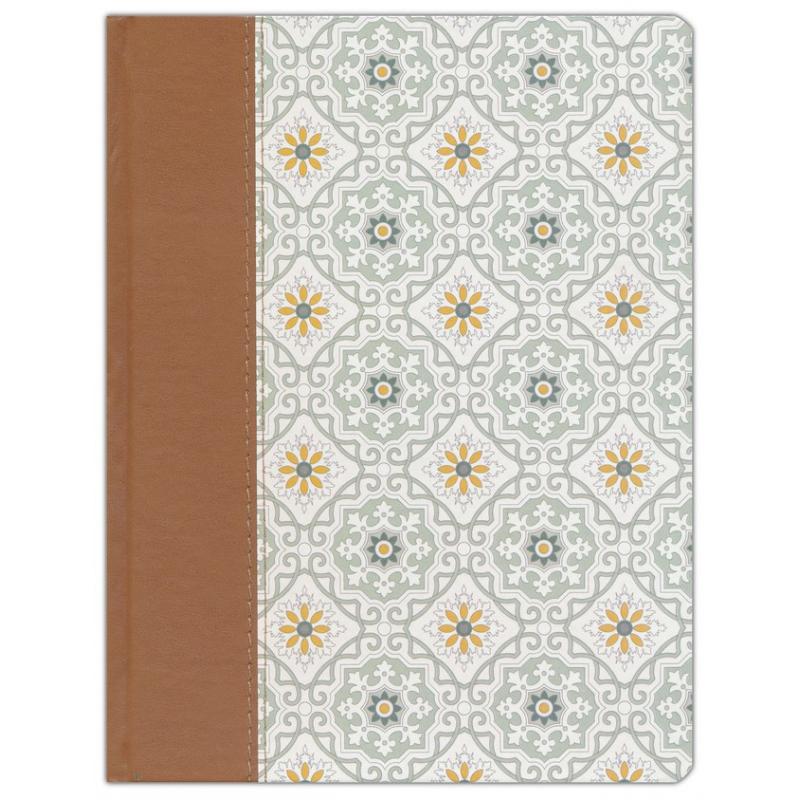 NVI Biblia de Apuntes, azulejos color salvia, símil piel, letra grande